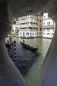 A gondola ride below the Rialto Bridge, Venice, Italy
