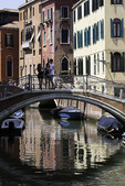 Tourists on a bridge, Venice, Italy