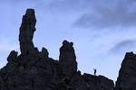 Jake climbs near the Tre Cime, Dolomites, Italy