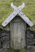 Doorway of recreated Herjólfur's farmhouse, Heimaey, Iceland
