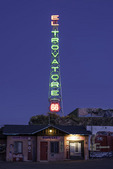Twilight comes to the El Trovatore Motel, Route 66, Kingman, Arizona