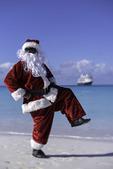 Santa chills in Half Moon Cay, Nieuw Amsterdam, Bahamas