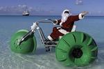 Santa rides a Caribbean sleigh in Half Moon Cay, Nieuw Amsterdam, Bahamas