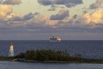 A Carnival cruise ship sails in at sunrise, Nassau, Bahamas