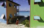 Villas on the shore of Half Moon Cay, Nieuw Amsterdam, Bahamas