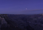 Blood blue super moon over Hance Rapid, at sunrise from Lipan Point, Grand Canyon National Park, Arizona