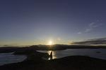 Sunset from volcano vista point, overlooking Pinnacle Rock, Bartolome Island, Galapagos, Ecuador