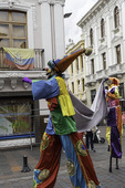 Clowns walk on stilts, Old Town, Quito, Ecuador