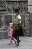 A mother walks with her daughter, Old Town, Quito, Ecuador