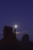 Full moon rising over the Mittens, Monument Valley, Arizona