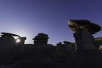 Sunrise over hoodoos in Ah-Shi-Sle-Pah, Bisti Badlands, New Mexico