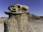 """Dino skull"" natural sculpture in the Cracked Eggs Nursery, Bisti Badlands, New Mexico"