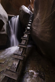 First ladder and waterfall in Kanarra Canyon, Utah