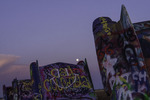 Moonrise over the Cadillac Ranch, Amarillo, Texas