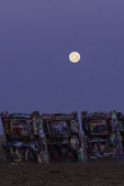 Moonset over the Cadillac Ranch, Amarillo, Texas