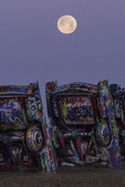 Moonset over the Cadillac Ranch, Amarillo, Texas