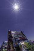 Sunstar over the Cadillac Ranch, Amarillo, Texas