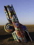 Two Hearts car, morning at the Cadillac Ranch, Amarillo, Texas