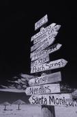 Signpost of classic Route 66 cities, Truxton, Arizona