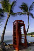 An English phone booth resides by Dickinson Bay, Antigua