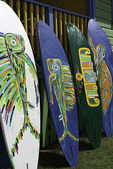 Brian Talma paints iconic elements of his life on surfboards, Silver Sands, Barbados