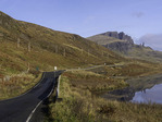 Driving to Old Man Storr beside the Sound of Raasay, Trotternish, Isle of Skye, Scotland
