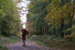 Julie walks the forest in North Berwick, Scotland, Lensbaby