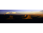 Panorama of the Mittens and Merrick Butte from Mitchell Mesa, Monument Valley, Arizona