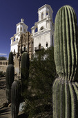 Saguaros frame Mission San Xavier del Bac, Tucson, Arizona
