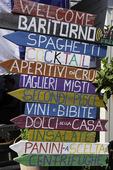 Restaurant signpost, Porto Santo Stefano, Italy