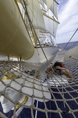 Bowsprit maiden on the Royal Clipper, Mediterranean Sea off western Italy