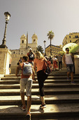 Tourists on the Spanish Steps, Rome, Italy