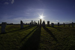 Sun and shadows cast by the Calanais Standing Stones, Isle of Lewis, Scotland