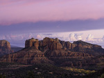 Autumn color and sunset over Cathedral Rocks, Red Rock Crossing Park, Sedona