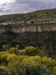 Verde Canyon Railroad, running above the Verde River in autumn, Arizona