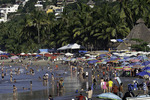 The beach scene in Sayulita, Riviera Nayarit, Mexico