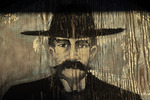 Doc Holliday painting on wooden wall, Allen Street, Tombstone, Arizona