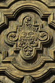 A carved face adorns the front door of the Mission San Ignacio, Baja California Sur, Mexico