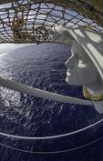 Bowsprit maiden on the Royal Clipper, Mediterranean Sea off Sardinia, Italy
