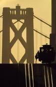 Boarding the California Street cable car on Nob Hill, at sunrise, San Francisco, California