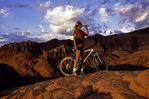 Koleen Hamblin rides the slickrock at Snow Canyon State Park, St. George, Utah