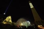 King Tut apparition in 1993 below the original Luxor Casino, Las Vegas, Nevada