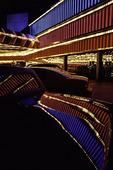 Night falls at the old Riviera Casino, mid-1990's, Las Vegas, Nevada