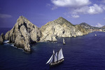 View of El Arco and the pirate ship from a parasail, Cabo San Lucas, Baja California Sur, Mexico