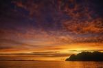 Flaming winter sunrise off Isla Partida, Sea of Cortez, Baja California Sur, Mexico