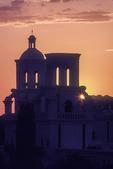 Mission San Xavier at sunset, (film), Tucson, Arizona