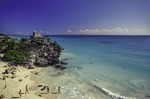 The Temple of the Wind overlooks the beach at Tulum, Quintana Roo, Mexico