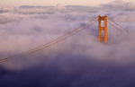 Golden Gate Bridge in fog from Marin Headlands, San Francisco, California