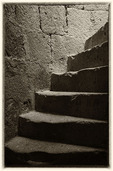 Stone steps lead up inside Mission San Borja, Baja California Norte, Mexico