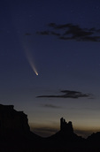 Comet Neowise streaks over Monument Valley, Arizona